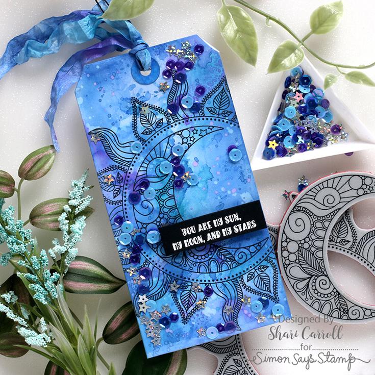 Make Magic Blog Hop Shari Carroll Sun and Moon Mandala cling and Magical sequins