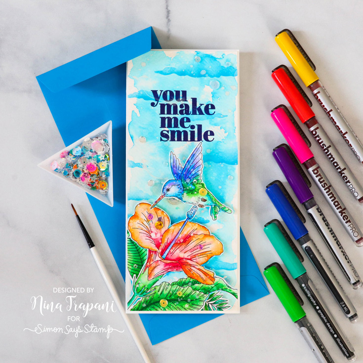 Make Magic Blog Hop Nina-Marie Trapani Suzy's Tropical Foliage Watercolor card, Night Sky stencil, and All About Me stamp