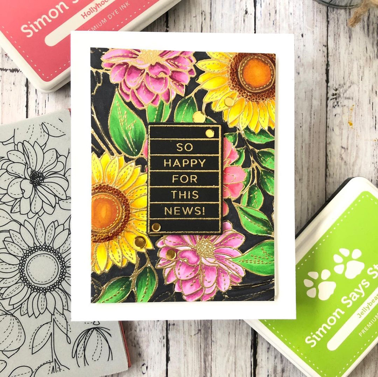 Sidnie Des Jardins Simon Says Stamp July 2021 Throwback Thursday Happy Days stamp and die set and Floral Mix cling background stamp