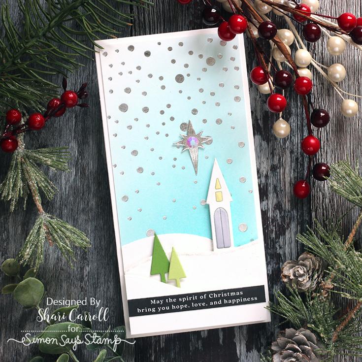 STAMPtember® Blog Party Shari Carroll Mini Slimline Falling Dots hot foil plate, Slimline Snowbanks die, and Reverse Merriest Christmas sentiment strips