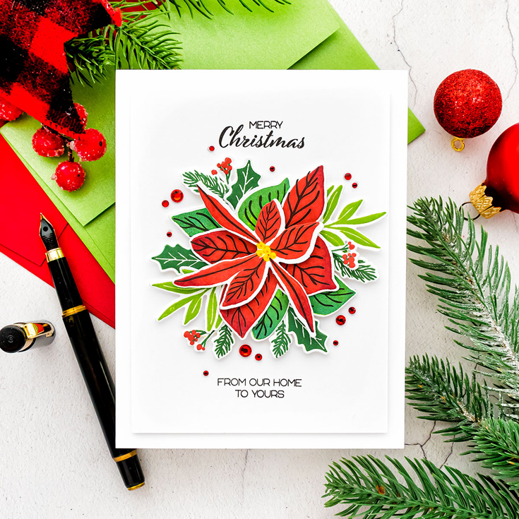 Yana Smakula World Card Making Day 2021 Happy Poinsettia stamp and coordinating dies