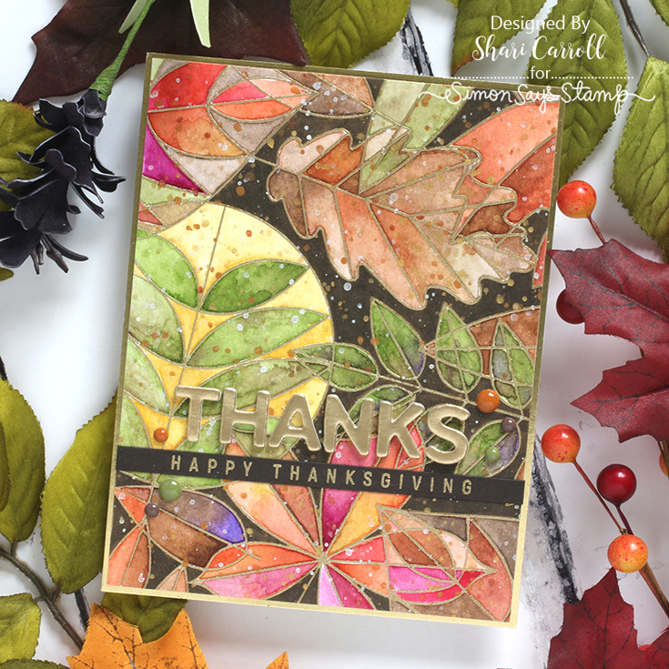 Peace on Earth Blog Hop Shari Leafy Leaves cling, Thanksgiving die, and Let the Gourd Times Roll stamp